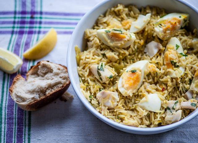 Kedgeree with boiled eggs