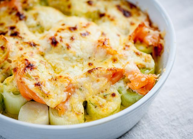 Baked Leeks Recipe, Smoked Salmon & Cheese Sauce - Great British Chefs