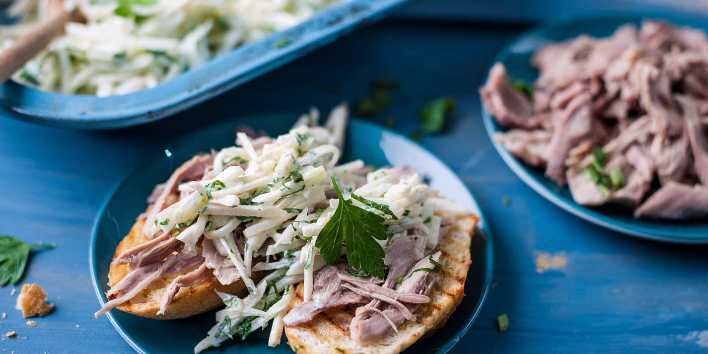 Leftover turkey with apple, celeriac and fennel slaw