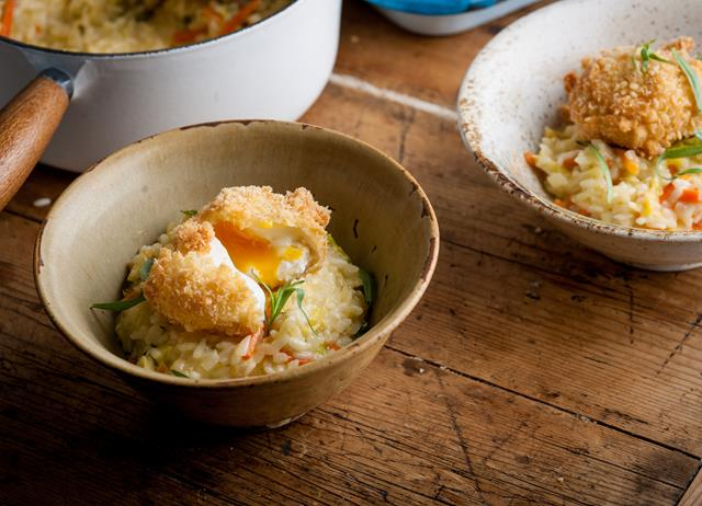 Bubble and squeak risotto with crispy egg