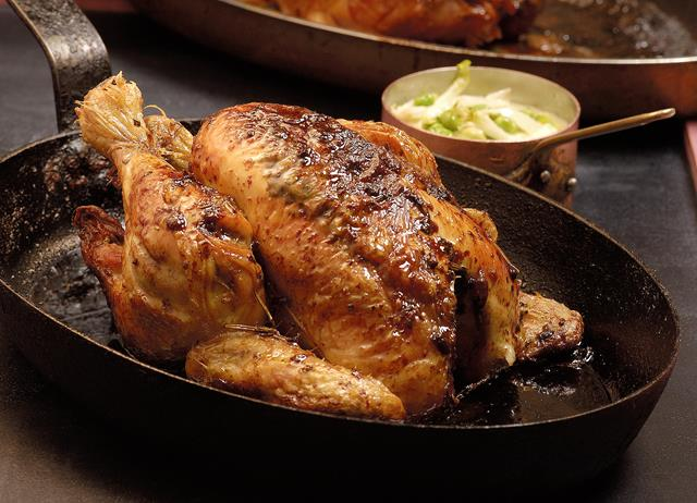 Herb roasted chicken with buttered peas, lettuce and bay leaf