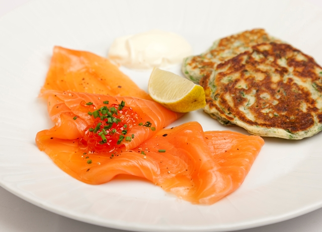 Smoked salmon with chard and dill pancakes