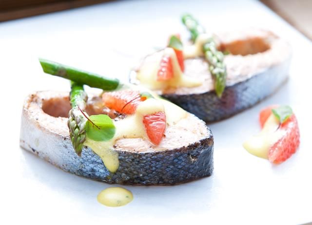 Sea trout with asparagus and pink grapefruit sabayon