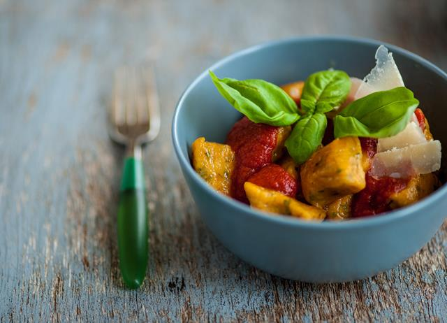 Sweet potato gnocchi with tomato sauce
