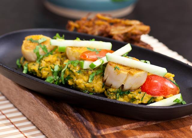 Curried scallops with coconut and coriander dahl and apple salad