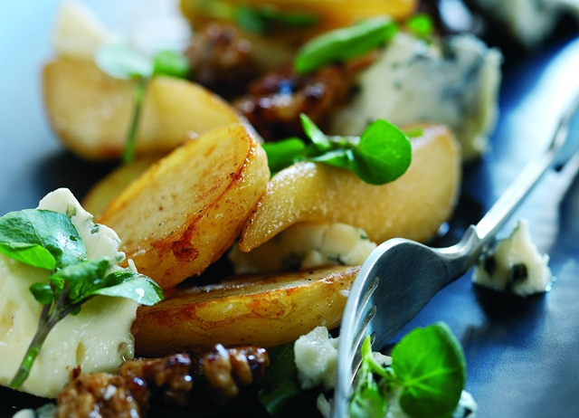 Roast Jersey Royals with glazed pear, Roquefort cheese and walnut salad