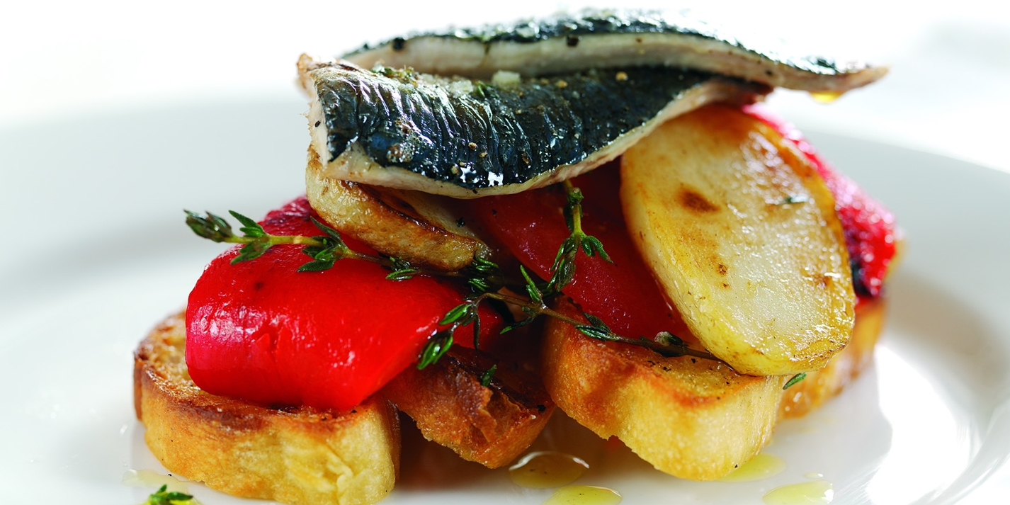 Grilled sardines on toasted foccacia bread