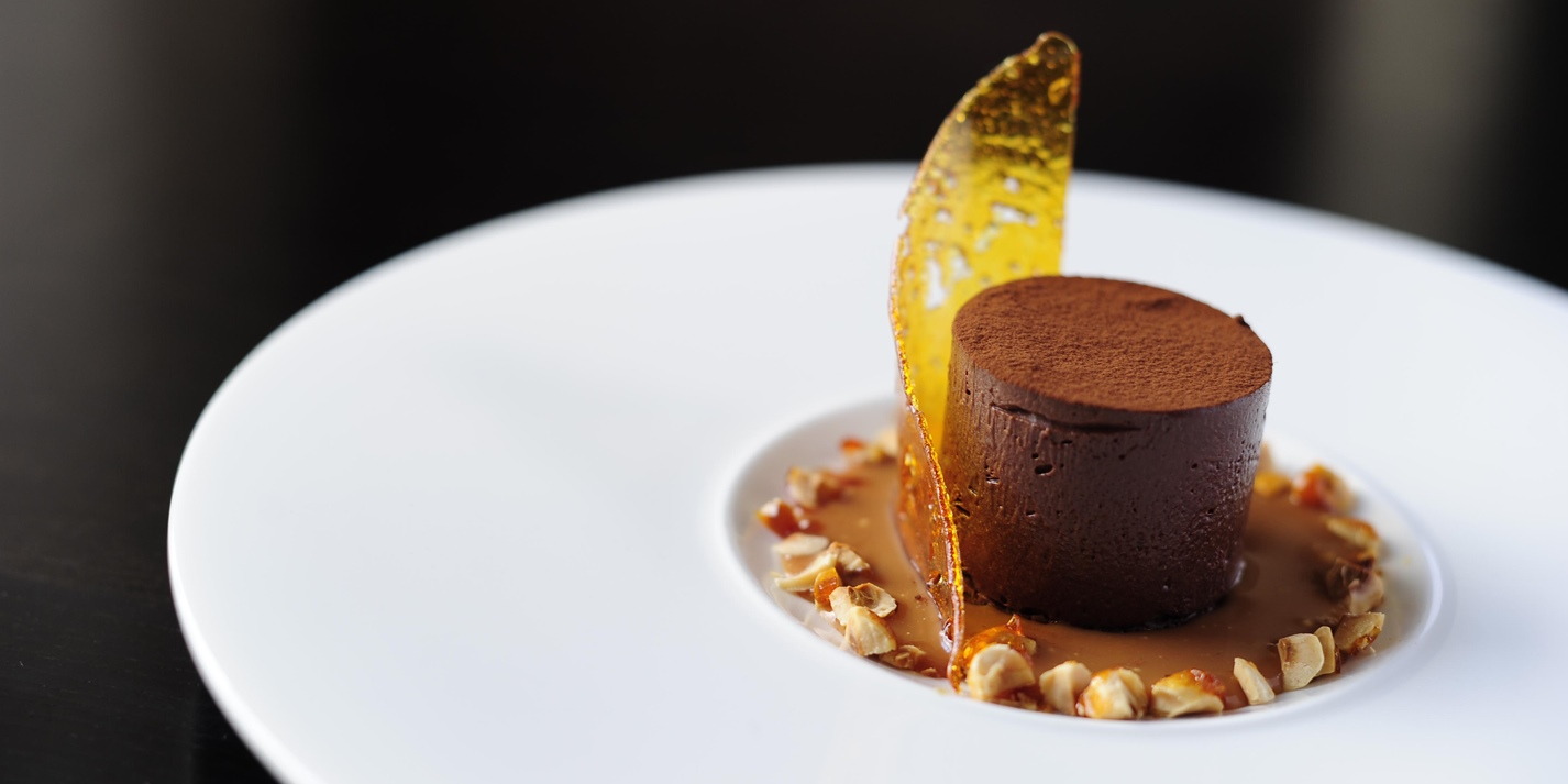 Chilled chocolate fondant with salted butter caramel sauce