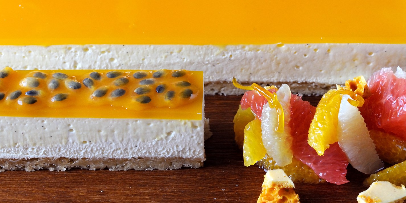Passion fruit and vanilla cheesecake