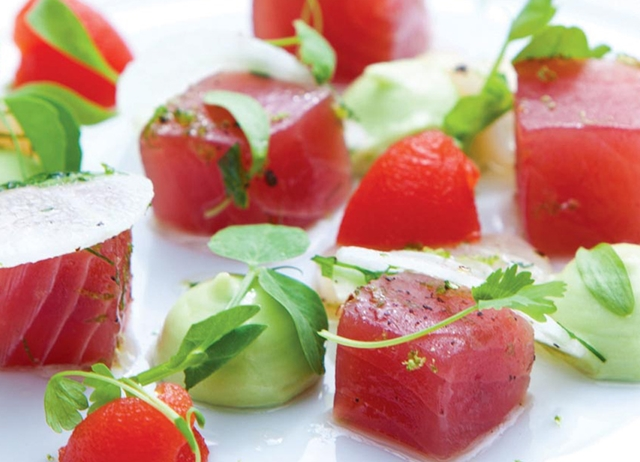 Yellowfin tuna with a lime and white radish dressing and Bloody Mary jelly
