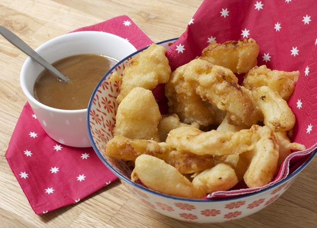 Pineapple fritters with spicy toffee sauce recipe - Great British ...