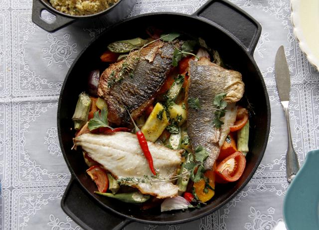 Sea bass in coconut cream