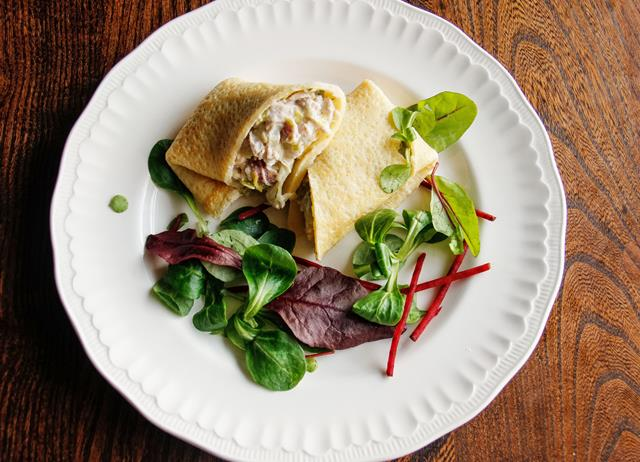 Turkey cornmeal pancake wrap