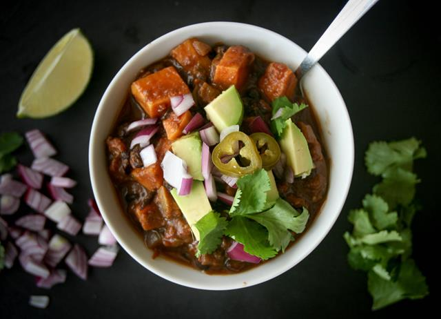 Sweet potato and black bean chilli