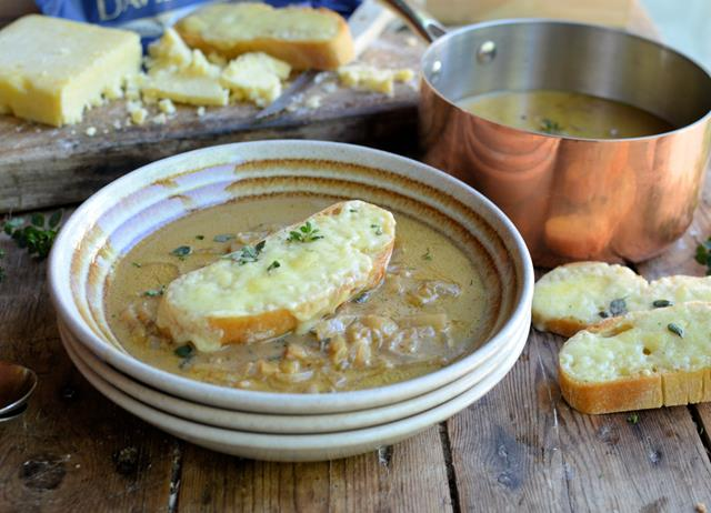 Cider and onion soup with grilled cheddar croutons
