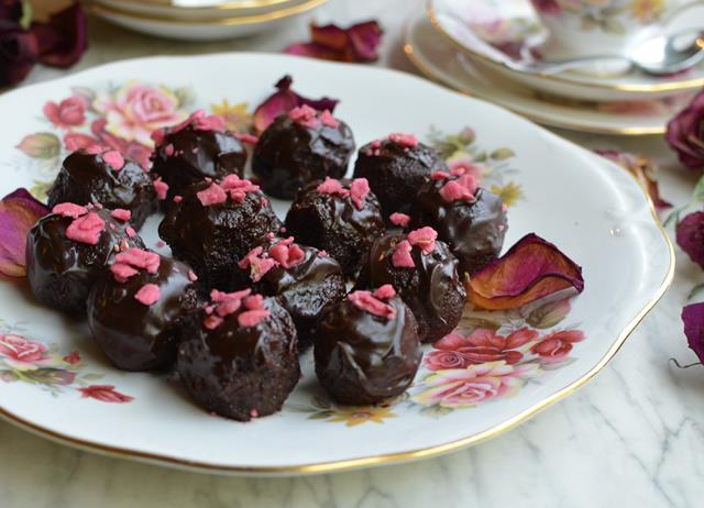 Rose scented chocolate truffles