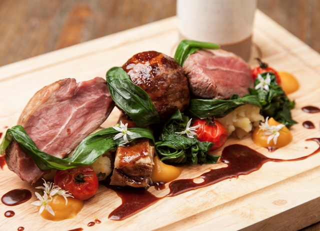 New season Cotswold reared Lamb `mixed grill` with wild garlic, asparagus and a rosemary flavoured lamb gravy