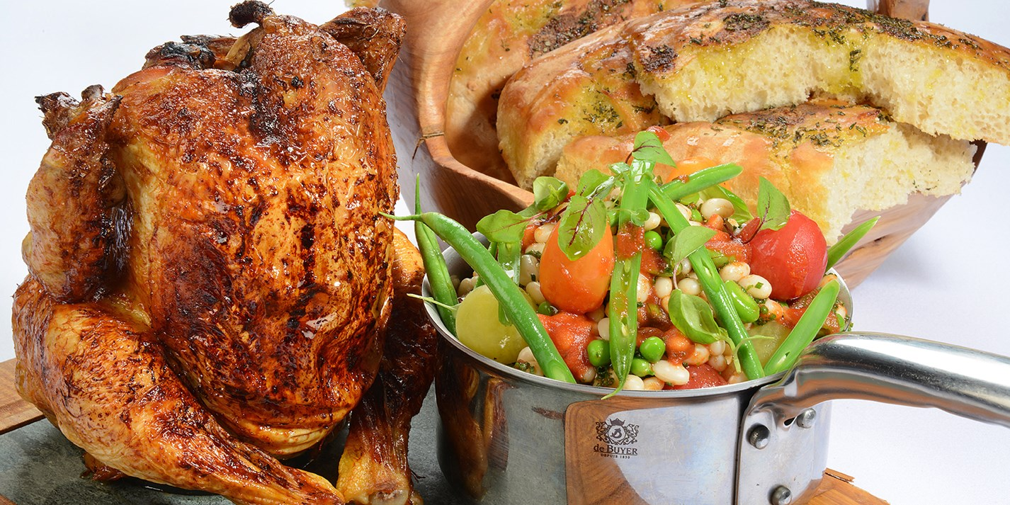 Barbecue Beer Can Chicken With Garlic Bread Recipe - Great British ...
