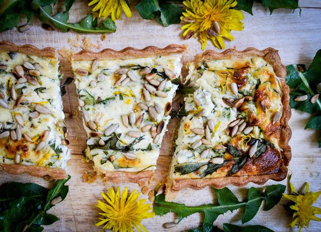 Feta and dandelion tart
