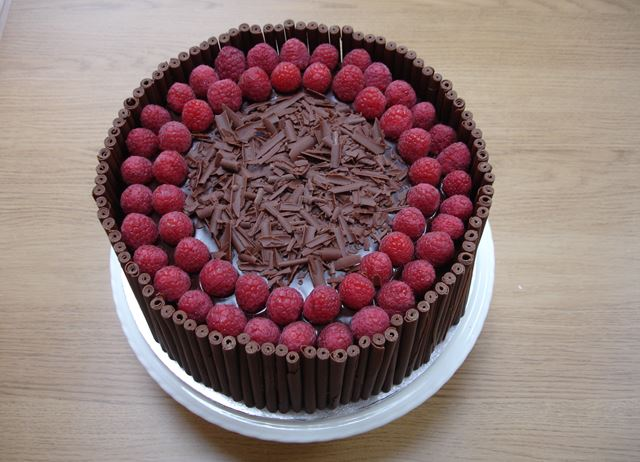 Chocolate and raspberry cake by Kate Mew
