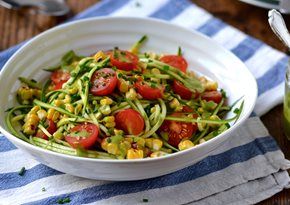 Courgetti with Piccolo tomatoes, grilled corn and herb dressing