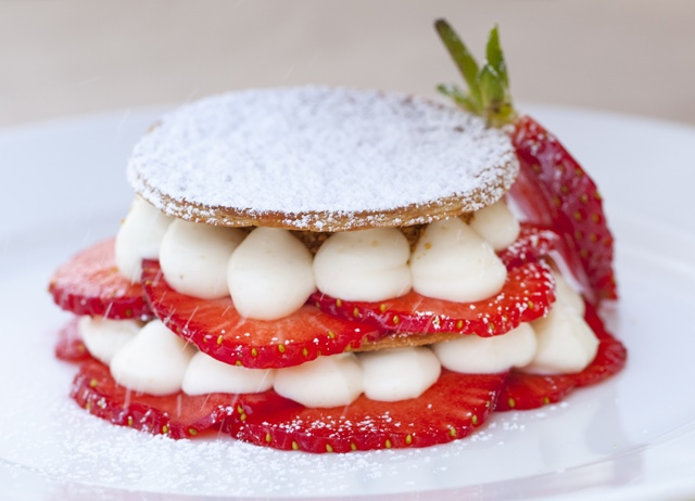 Strawberry and macadamia mille-feuille