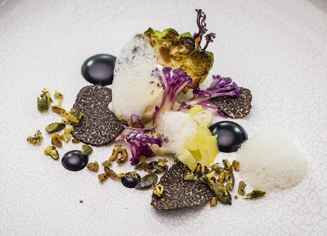 Purple, white and green cauliflower, grilled gouda, Australian truffle, Brillat-Savarin