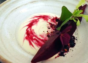 Cylindra beetroot with blackberry soured cream