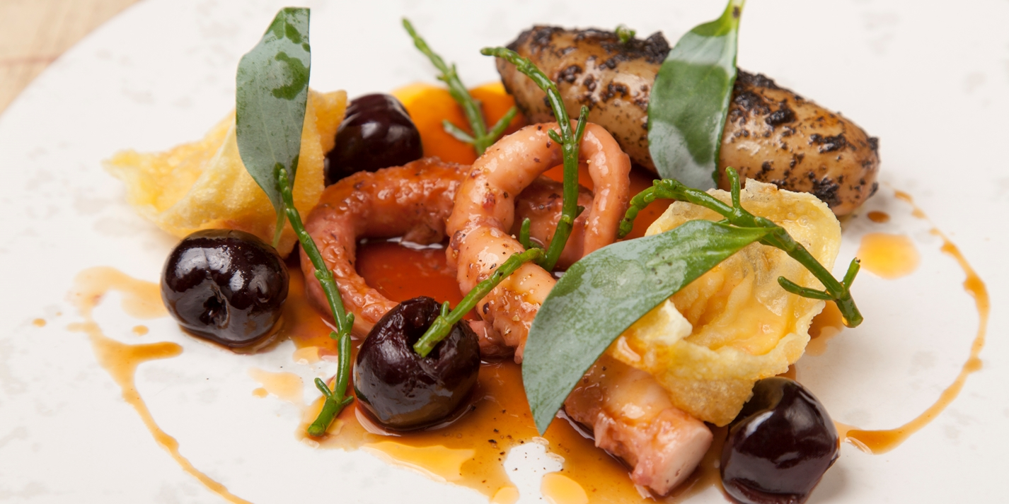 Octopus With Lobster And Scallop Wontons Recipe Great