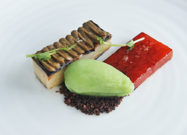 ... watermelon, aubergine, chocolate crumbs, cucumber and ginger ice cream