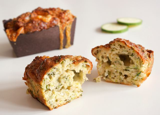 Courgette, cheddar and basil quick breads