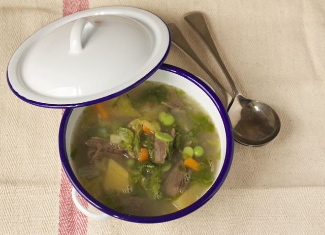 Hotch potch - lamb and vegetable summer soup