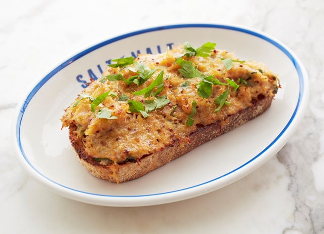 Devilled crab on sourdough toast