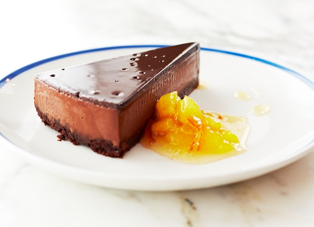 Triple layered chocolate tart with orange compote recipe
