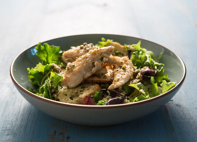 ... lemon and rosemary chicken salad with a shallot and caper dressing