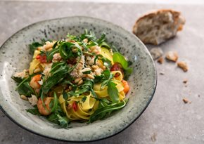 Crab and tiger prawn fettuccine