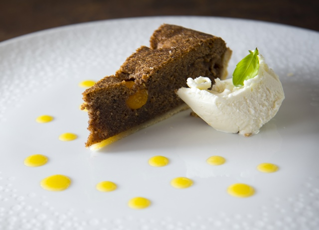 Chocolate cobnut and physalis tart with basil ice cream