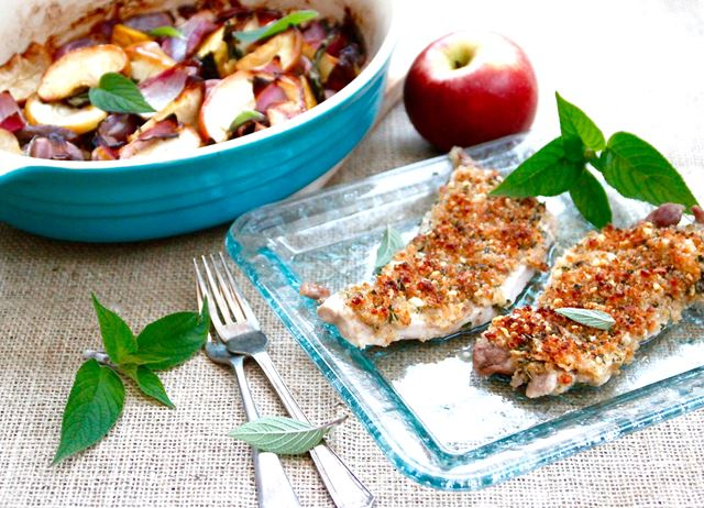 Blue cheese crusted pork escalopes with pineapple sage, roasted beetroot and apple