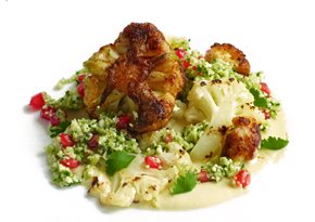 Baharat roasted and smoked cauliflower, pomegranate cauliflower couscous, tahini dressing