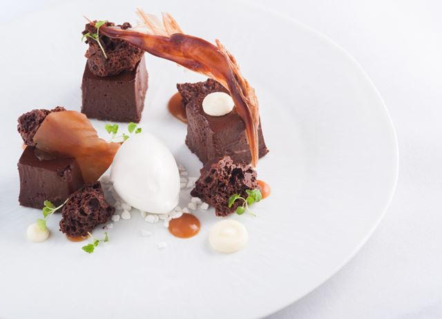 Chocolate aero with dark chocolate mousse and salted caramel