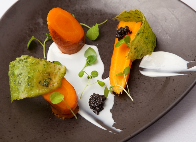 Organic carrots cooked in goat's whey with caviar, watercress and goat's curd