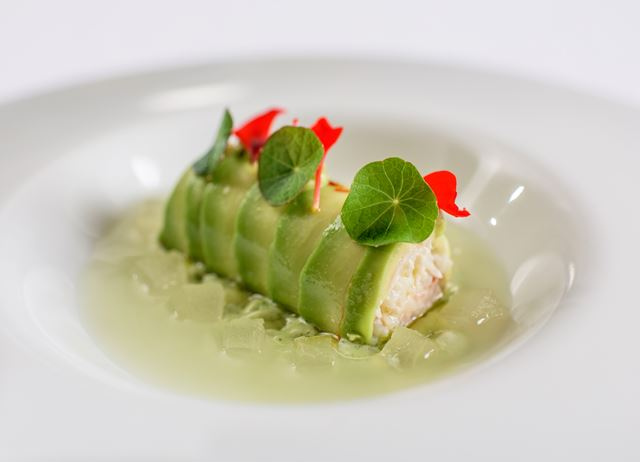 Crab, avocado mousse, cucumber juice, melon and basil mayonnaise