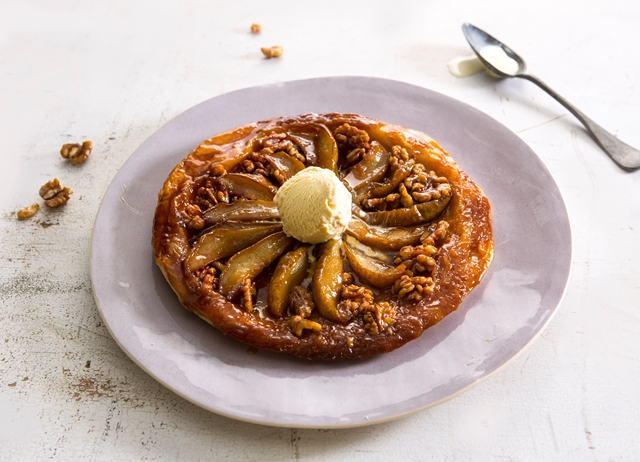 Pear and walnut tarte tatin