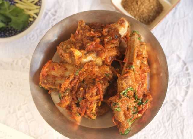 Afghani Style mutton chop karhai with pepper, coriander and cumin