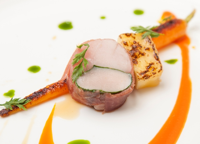 Saddle of rabbit with carrot, dill and camomile broth