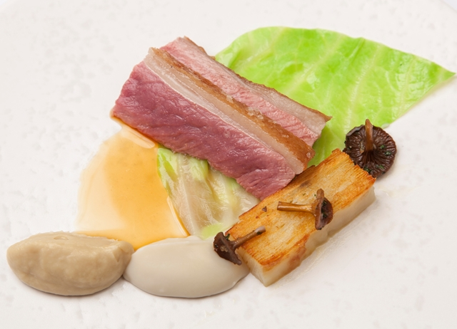 Sous vide loin of lamb with shallot and artichoke purées