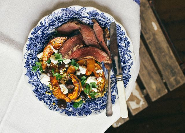T-bone steak with roasted pumpkin, chestnuts, freekeh, feta and parsley