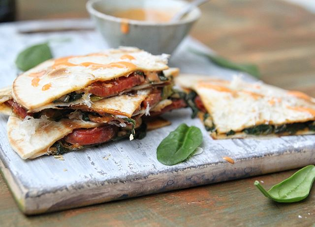 Chorizo, spinach and Le Gruyère AOP quesadillas