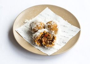 Venison bolognese fritters with Parmigiano Reggiano