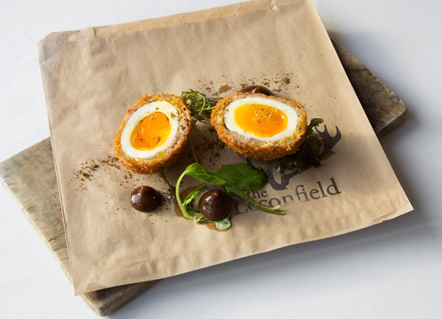 Chestnut, turkey scotch egg with spiced plum ketchup